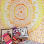 Classy Yellow Ombre Leafs Circle Medallion Tapestry, Mandala Wall Hanging