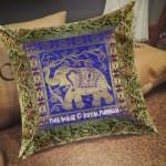 """16"""" Inch Blue Elephant Tree Design Silk Brocade Throw Pillow Cover"""