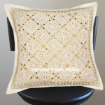 White Golden Color Threads Hand Embroidered Cotton Pillow Cover