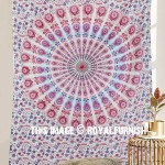 Pink & Blue Peacock Wings Medallion Mandala Tapestry Wall Hanging