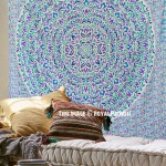 White Multi Shrubs and Hedge Plants Theme Mandala Tapestry Bedding