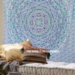 White Multi Shrubs and Hedge Plants Theme Mandala Tapestry Bedding