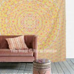 Yellow Multi Ombre Leaf Medallion Wall Tapestry, Bohemian Bedding