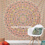 Multi Colored Leafs Medallion Style Ombre Mandala Wall Tapestry Bedspread