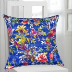 "16"" Dark Blue Birds Paradise Decorative Kantha Throw Pillow Cover"
