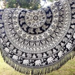Black & White Elephant Mandala Beach Throw Hippie Elephant Boho Round Tablecloth