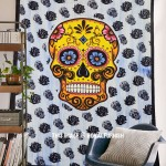 Colorful Psychedelic Skull Tapestry Wall Hanging