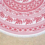 Red & White Elephant Medallion Mandala Roundie Beach Throw, Round Tablecloth