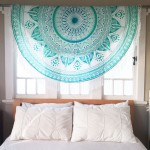 Sea Green Big Flower Leaves Ombre Mandala Roundie Beach Throw
