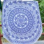 White and Blue Elephant Medallion Circle Beach Throw Roundie