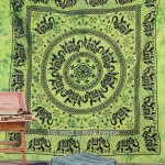 Large Green Herd of Elephants Mandala Circle Cotton Fringed Tapestry Bedding
