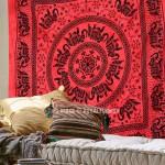 Red Multi Herd of Elephants Mandala Tie Dye Tapestry Bedding