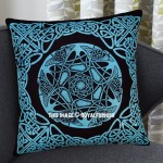 Turquoise Blue Decorative Star Celtic Knot Cotton Throw Pillow Cover 16X16 Inch