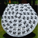 Black and White Elephants Ring Mandala Roundie Beach Throw, Round Table Cover