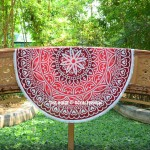Red Stellaria Flower Ombre Mandala Roundie Beach Throw