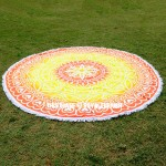 Yellow Stellaria Flower Ombre Mandala Roundie Beach Throw
