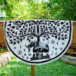Black & White Elephant Under Tree Roundie Beach Throw Round Tablecloth