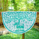 Sea Green Elephant Under Tree Roundie Beach Throw Round Tablecloth