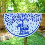 White & Blue Elephant Under Tree Roundie Beach Throw Round Tablecloth