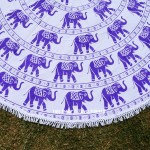 White and Purple Elephants Ring Mandala Roundie Beach Throw