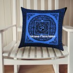 Decorative Blue Tibetan Aum Om Printed Tie Dye Square Pillow Cover 16X16