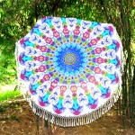 Pink & Blue Multi Trippy Medallion Circle Round Beach Throw