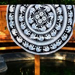 Black Elephant Mandala Roundie Beach Towel Throw