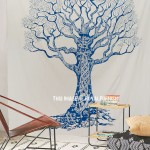 Teal Famine Tree Fringed Wall Tapestry, Indian Bedding