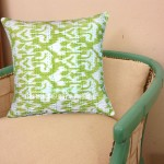 "16"" X 16"" Parrot Green Decorative Zig Zag Ikat Throw Pillow Cover"