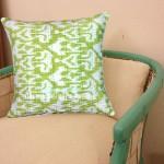 "16"" X 16"" Parrot Green Decorative Zig Zag Ikat Throw Pillow Cover"