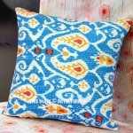 Turquoise Multi Paisley Featuring Cotton Kantha Ikat Pillow Cover 16X16