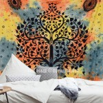 Hippie Elephant Tree Tapestry Wall Hanging, Tie Dye Sheet Bedding