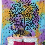 Purple Multi Tie Dye Good Luck Elephant Tree Tapestry, Hippie Bedspread