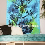 Turquoise Blue Opium Poppy Plant Tapestry Wall Hanging, Tie Dye Sheet