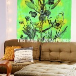 Green Opium Poppy Plant Tapestry Wall Hanging, Tie Dye Sheet