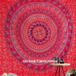 Vibrant Red Bohemian Culture Circle Mandala Tapestry, Hippie Bedspread