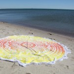 Yellow Multi Ombre Flower Medallion Cotton Roundie Beach Throw