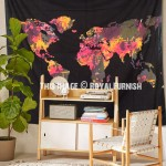 Black Multi Large Tie Dye World Map Tapestry, Atlas Bed Cover