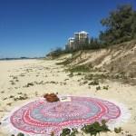 Orange Multi Birds Bohemian Mandala Round Beach Towel, Fringed Roundie