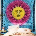 Turquoise Blue and Yellow Sun Face Moon Tapestry, Tie Dye Sheet