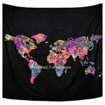Multi World Map Atlas Tapestry