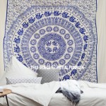 Elephant Sun Medallion Circle Fringed Cotton Tapestry Wall Hanging