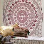 Brown Multi Sun Elephant Medallion Tapestry, Fringed Indian Bedspread