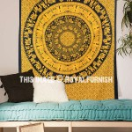 Yellow Small Size King Procession Bohemian Mandala Tapestry