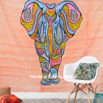 Multi Colorful Hand Brush Asian Elephant Cotton Tapestry