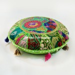 Parrot Green Multi One-Of-A-Kind Unique Patchwork Round Yoga Cushion Cover