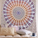 White Multi Blend of Brown & White Peafowl Mandala Tapestry
