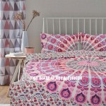 Pink and White Hippie Peacock Mandala Duvet Covers with Set of 2 Pillow Covers