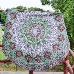 Maroon Psychedelic 3-D Star Mandala Round Beach Throw, Beach Round Towel