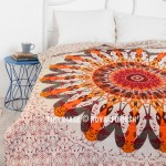 Queen Orange Barsa Medallion Circle Bohemian Bedding Mandala Duvet Cover